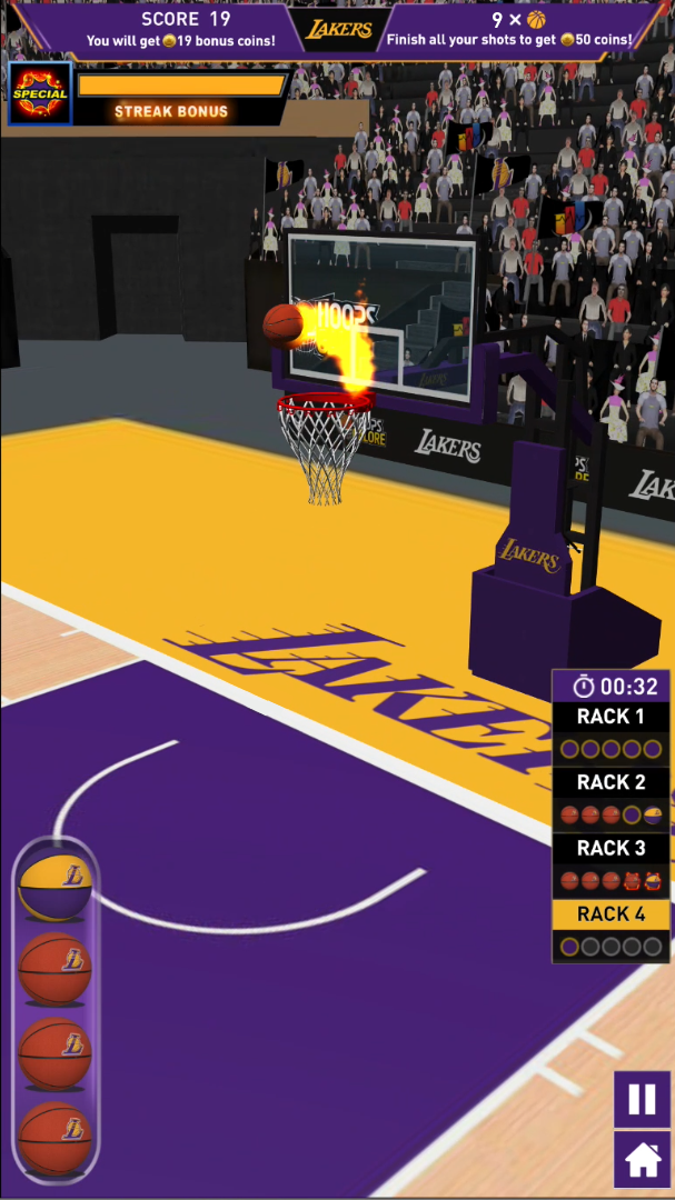 In-app screenshot of LA Lakers and GTG Network Hoops Galore game