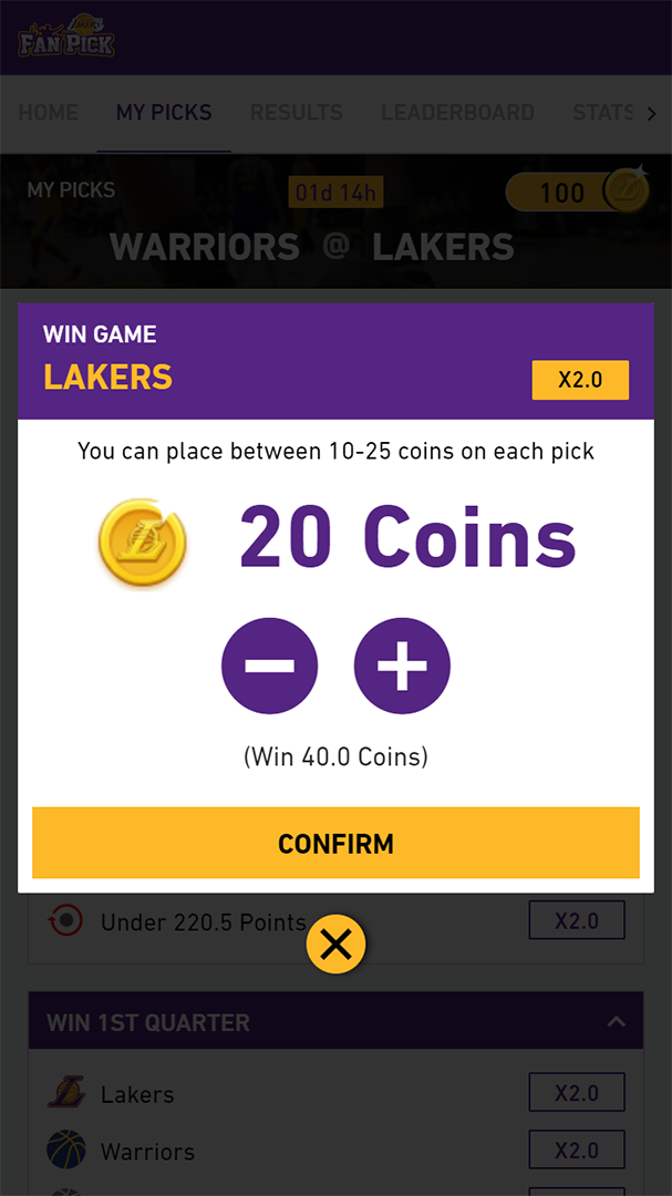 Los Angeles Lakers Fan Pick app assigning coins to a pick