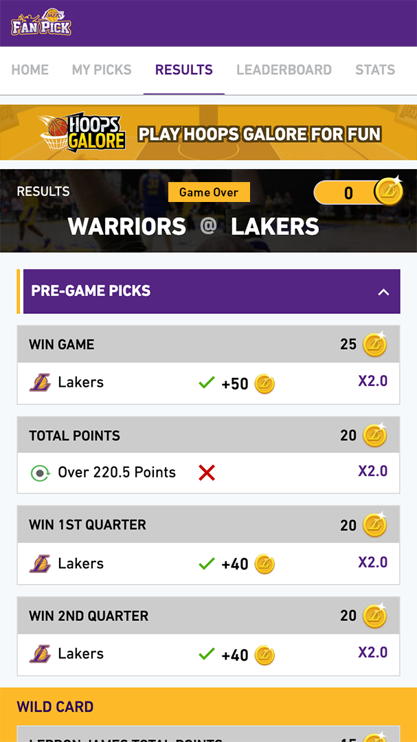 Los Angeles Lakers Fan Pick app results screen showing outcomes of pre-game picks