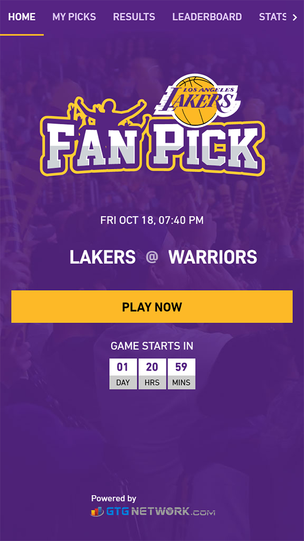 Los Angeles Lakers Fan Pick homepage powered by GTG Network counting down to next game