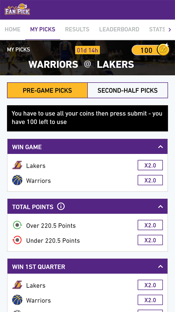 Los Angeles Lakers Fan Pick my picks screen showing pre-game picks section