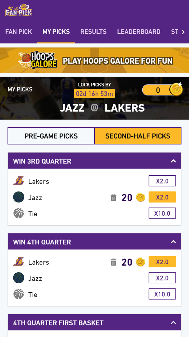 Los Angeles Lakers Fan Pick my picks screen showing second half picks section